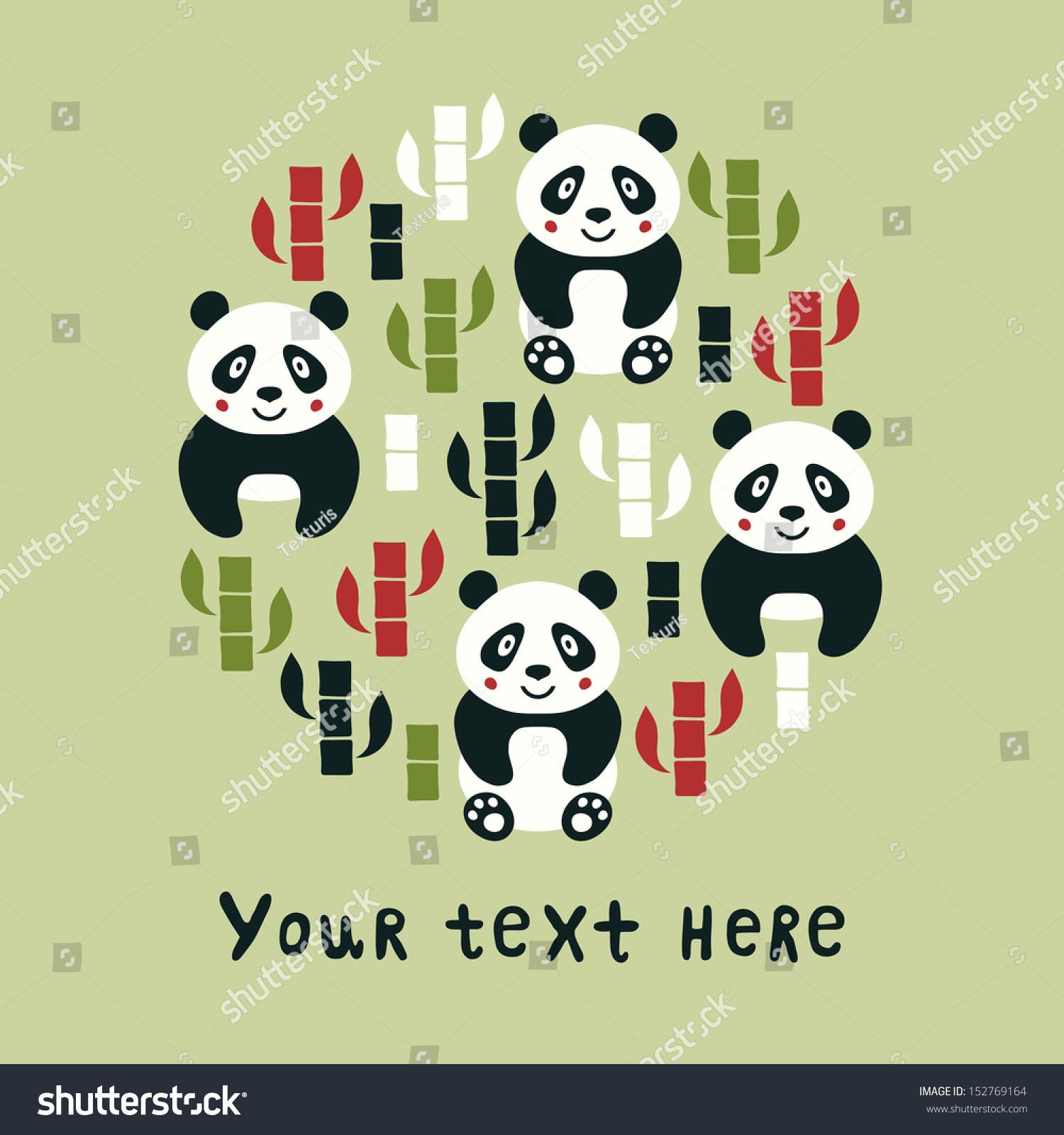 Panda Round Template Stock Vector Shutterstock
