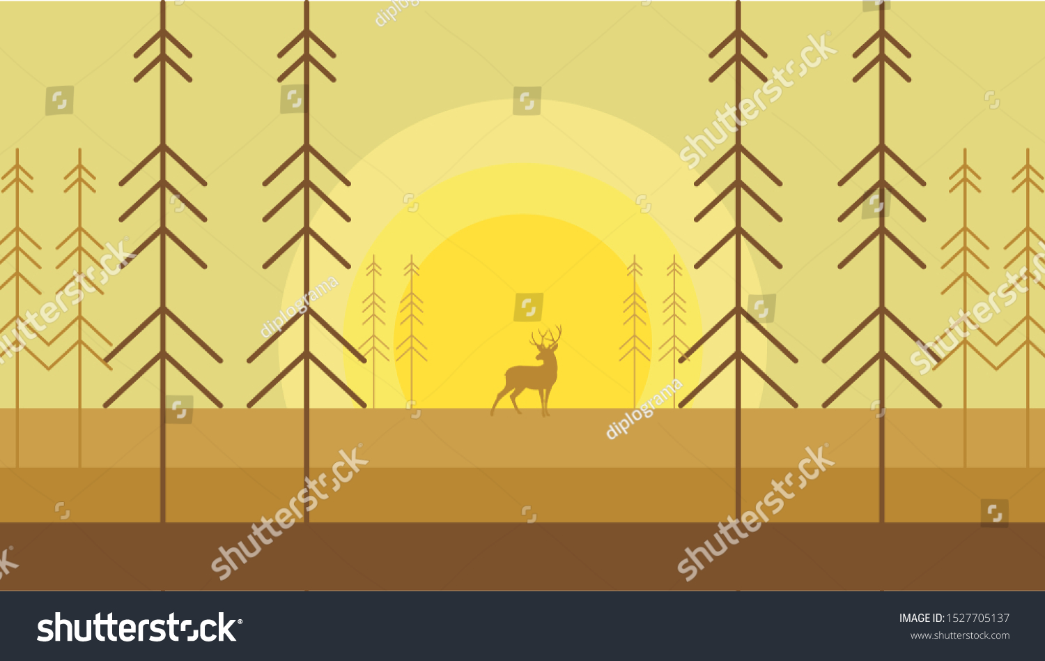Wallpaper Deers Sillhouette Autumn Forest Sunset Stock Vector Royalty Free 1527705137