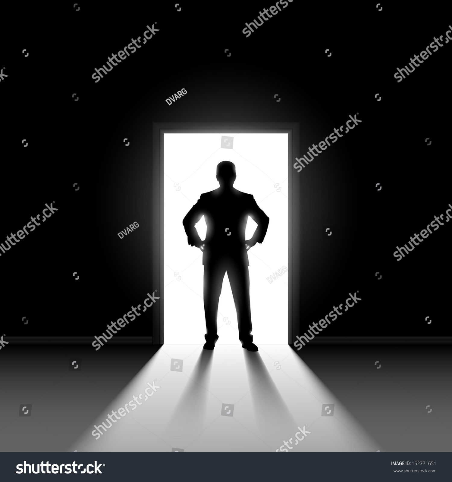 Silhouette Of Man Entering Dark Room With Bright Light In