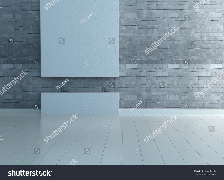 Empty Room Interior Stone Wall Wooden Stock Photo (Royalty Free ...