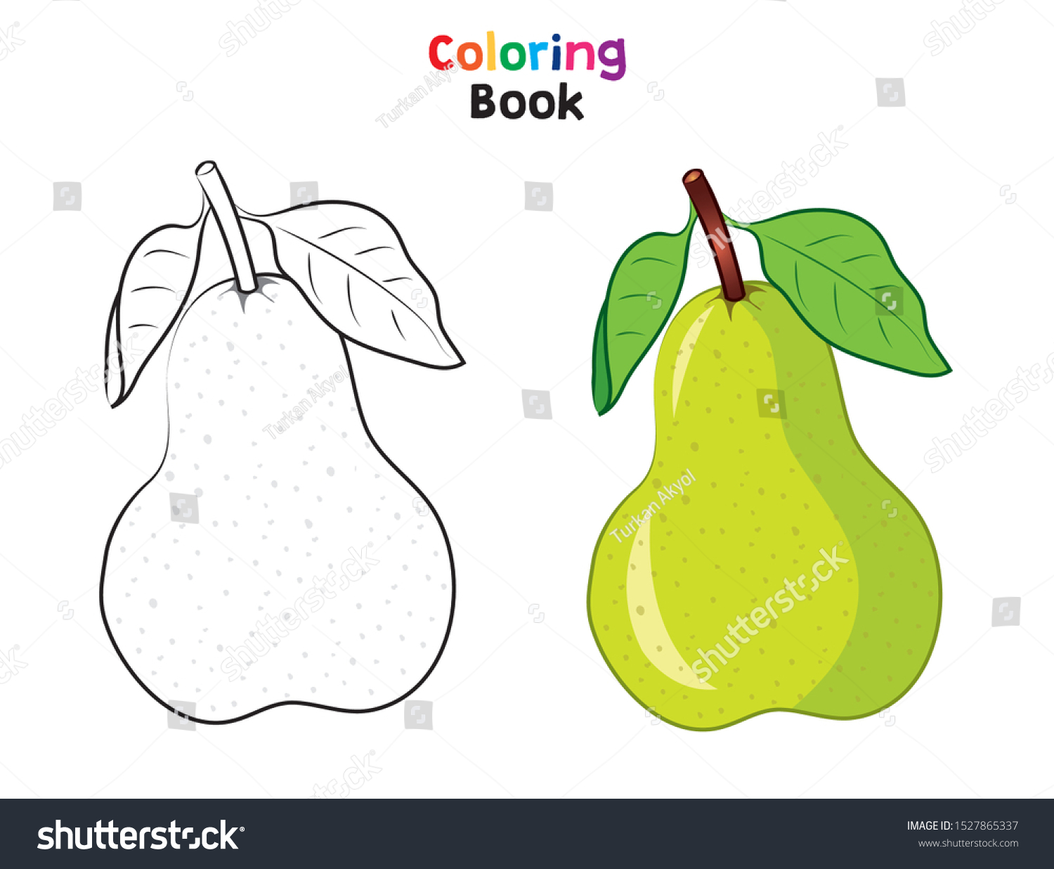 green fresh pear coloring page childrens stock vector royalty free 1527865337 shutterstock
