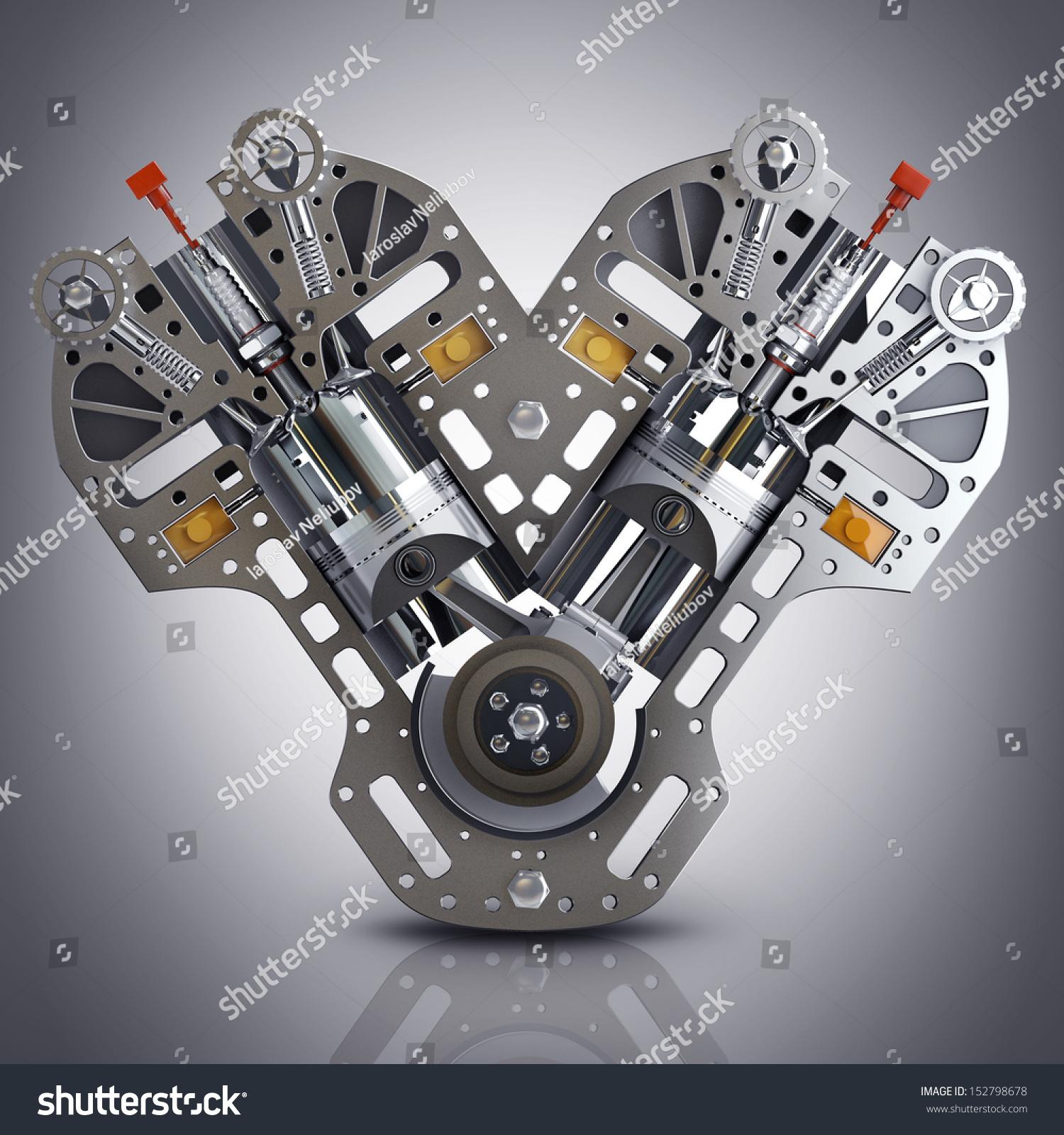 v 8 car engine concept modern carのイラスト素材 152798678 shutterstock