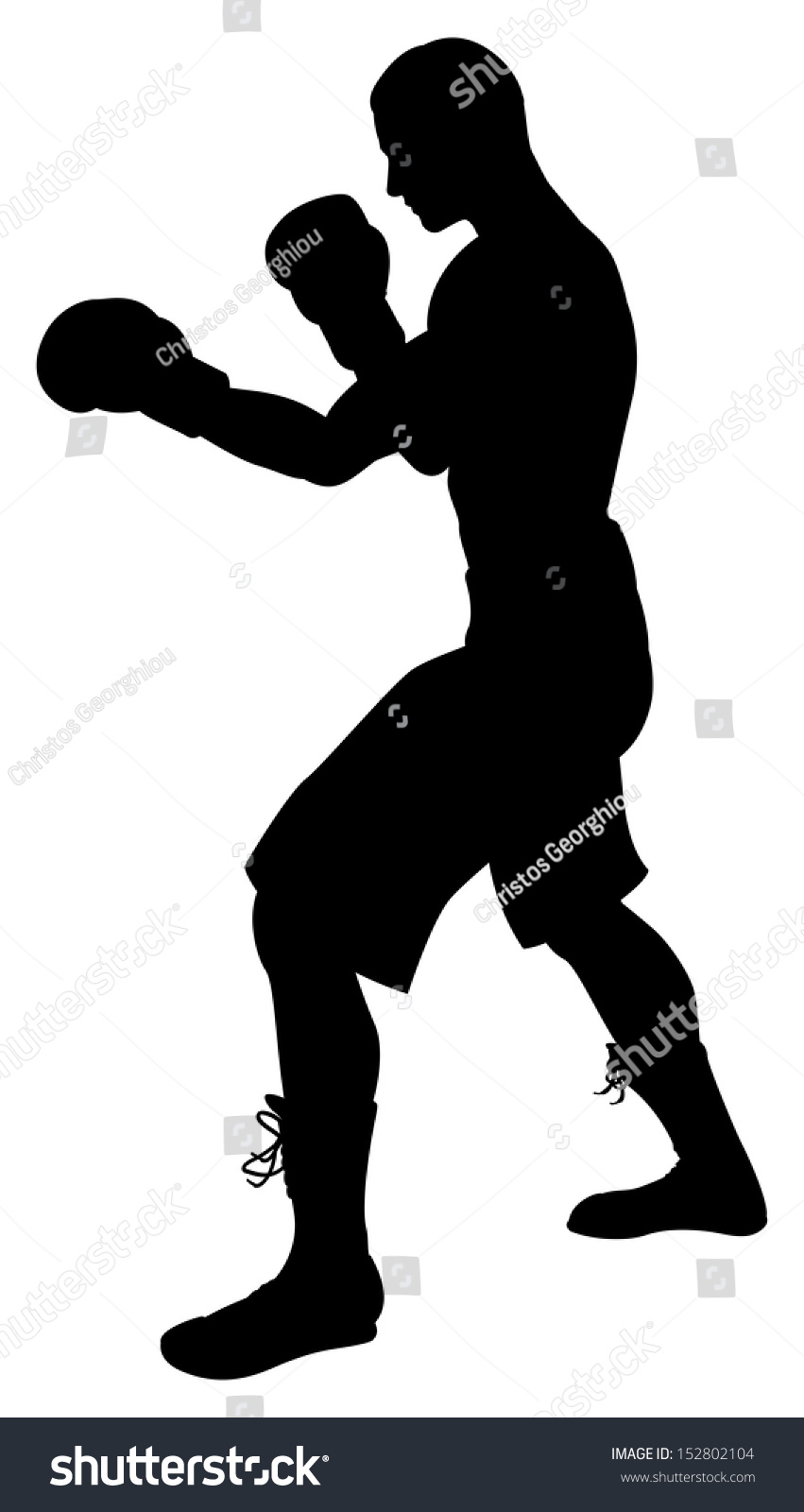 a detailed silhouette of a boxer with gloves boxing ez canvas