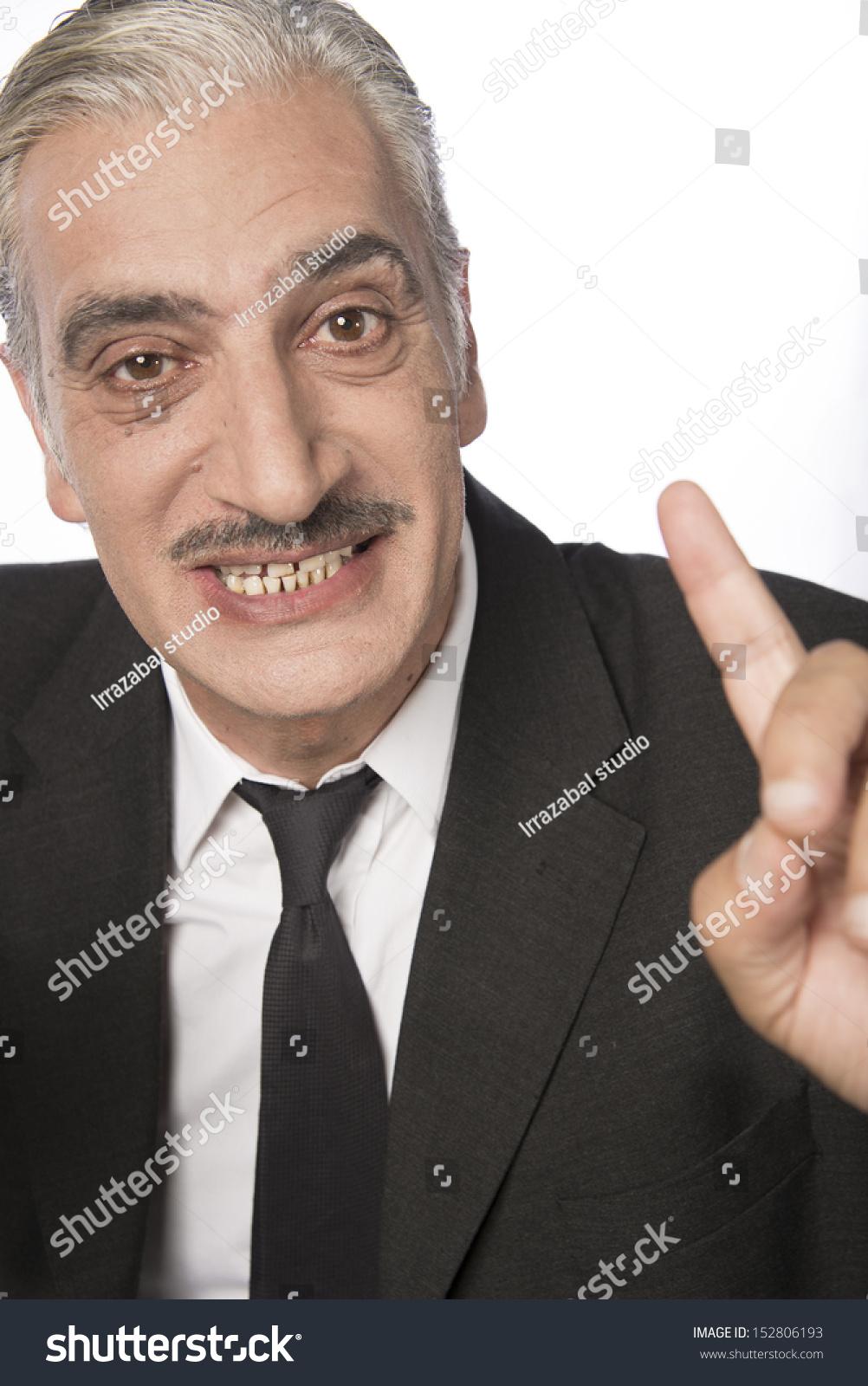 Mature Man Mustache Gray Hair Stock Photo (Edit Now) 152806193