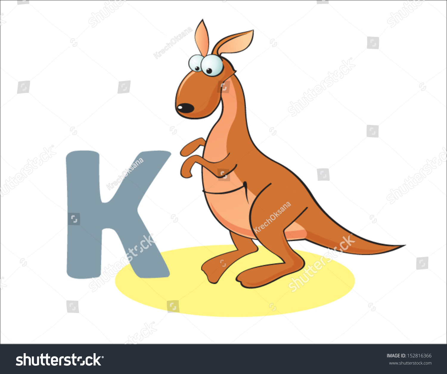 cartoon kangaroo and letter k
