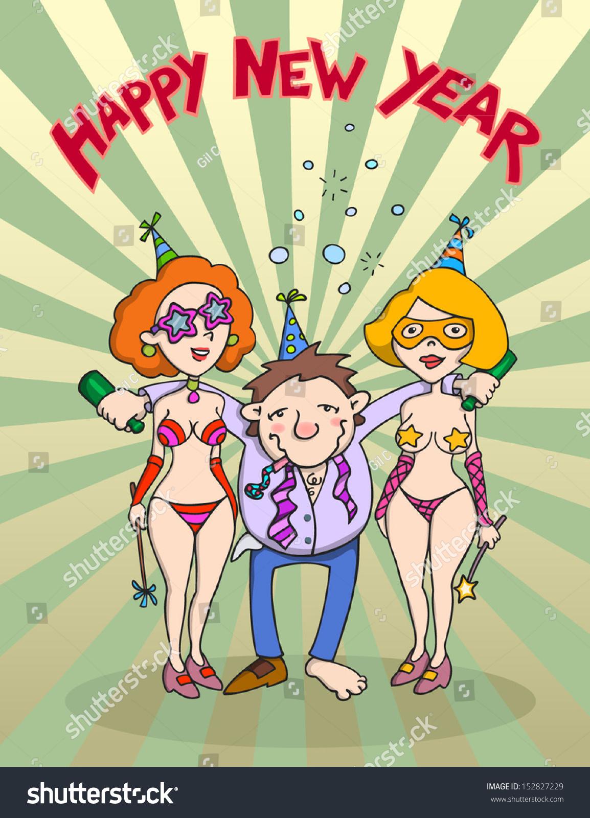 happy new year cartoon happy drunk stock vector hd (royalty free