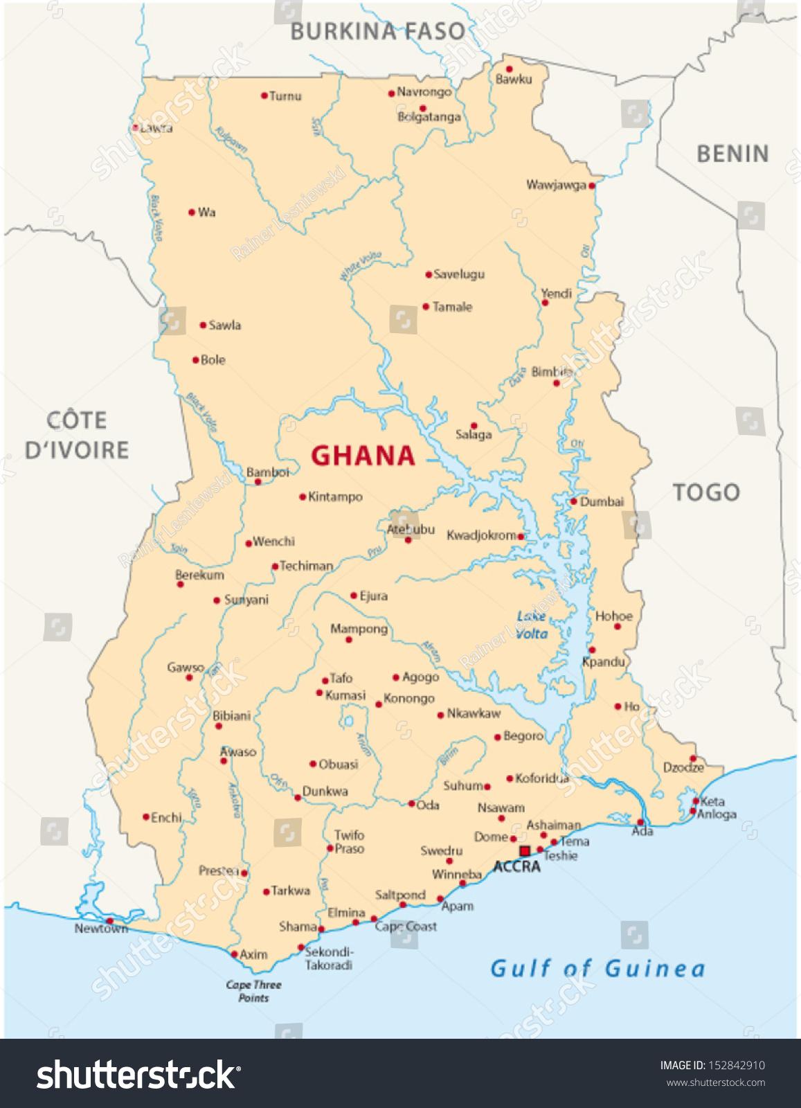 Ghana Map Stock Vector Shutterstock - Ghana map