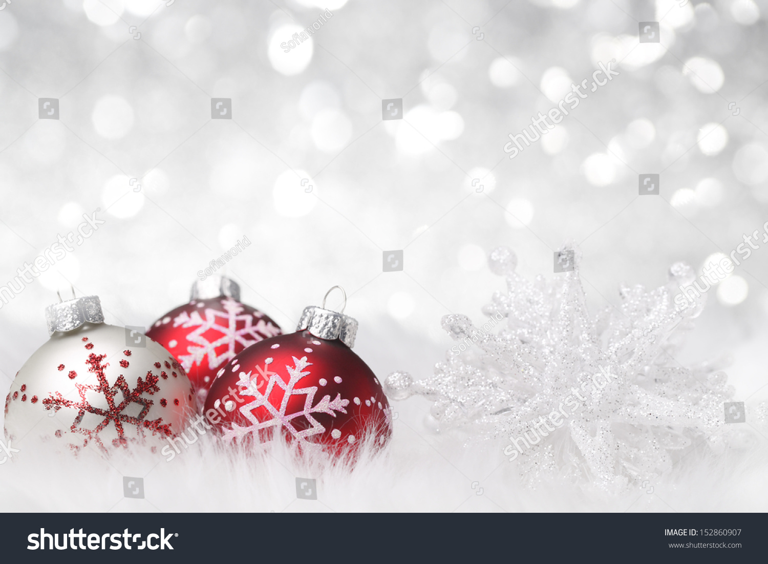 Christmas Balls Snowflake On Abstract Background Stock Photo ...