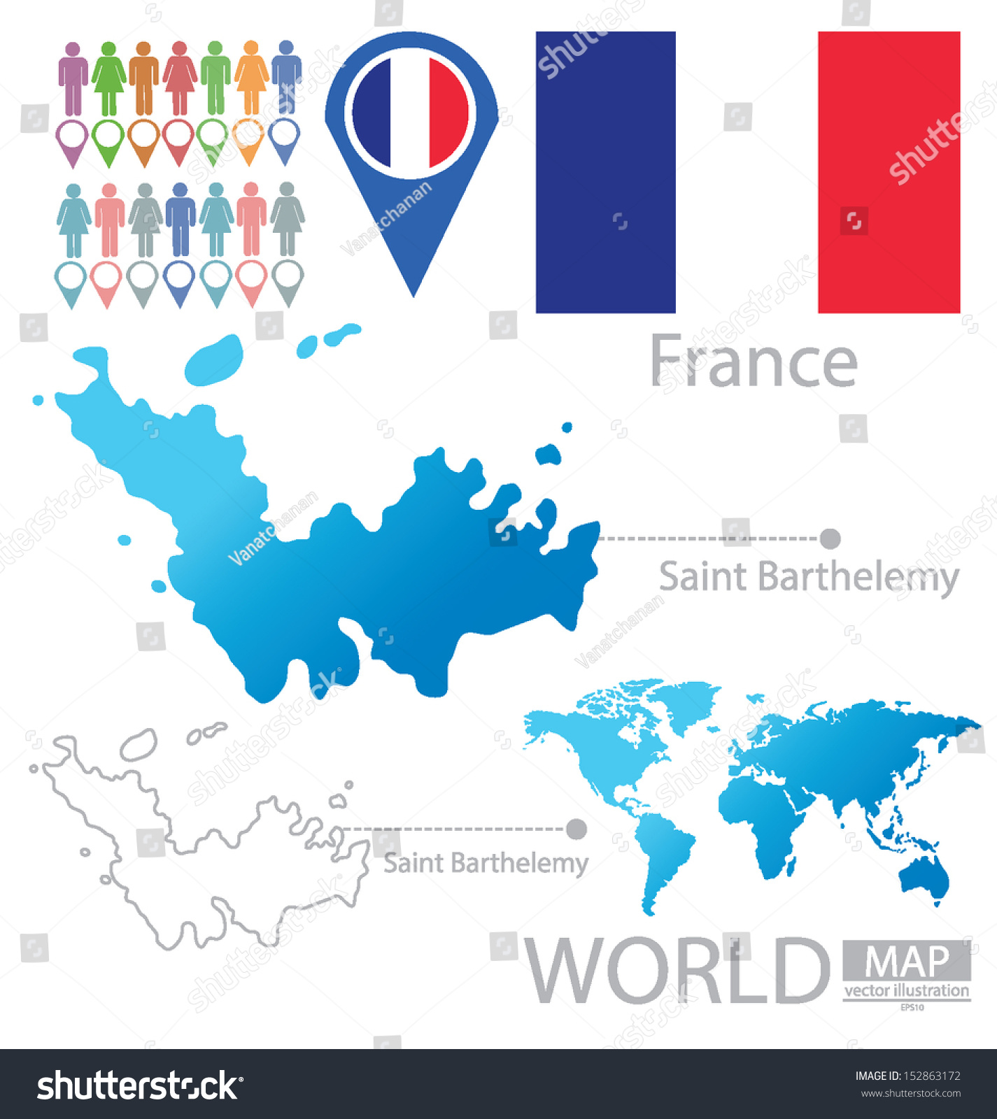 Saint barthelemy france flag world map vectores en stock 152863172 saint barthelemy france flag world map vector illustration gumiabroncs Image collections