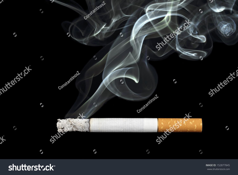 Smoking Cigarette On Black Background Stock Photo ...