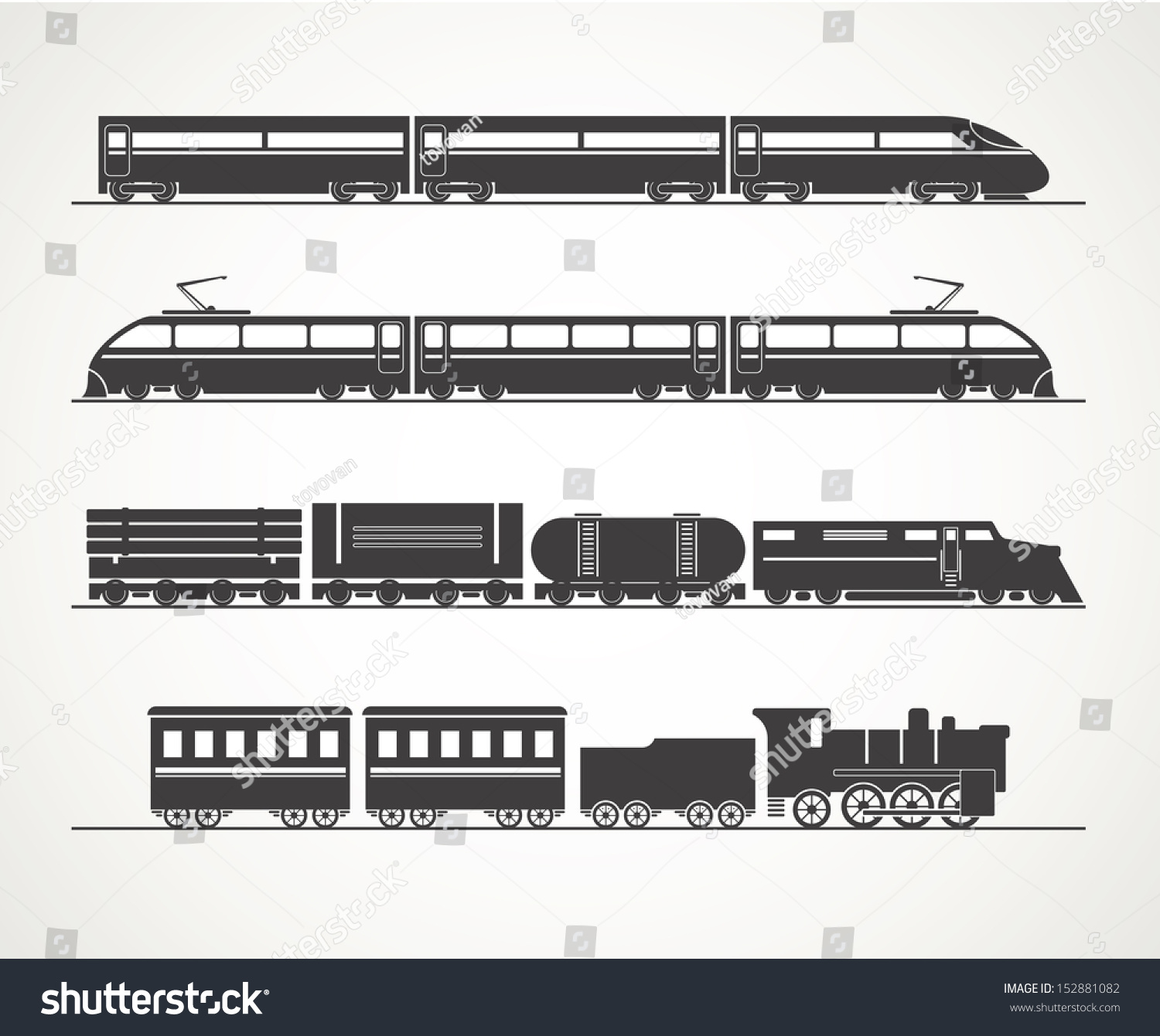 Modern Vintage Train Silhouette Collection Stock Vector ...