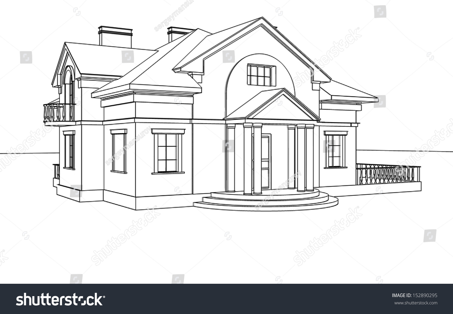 Drawing sketch house stock illustration 152890295 for House sketches from photos