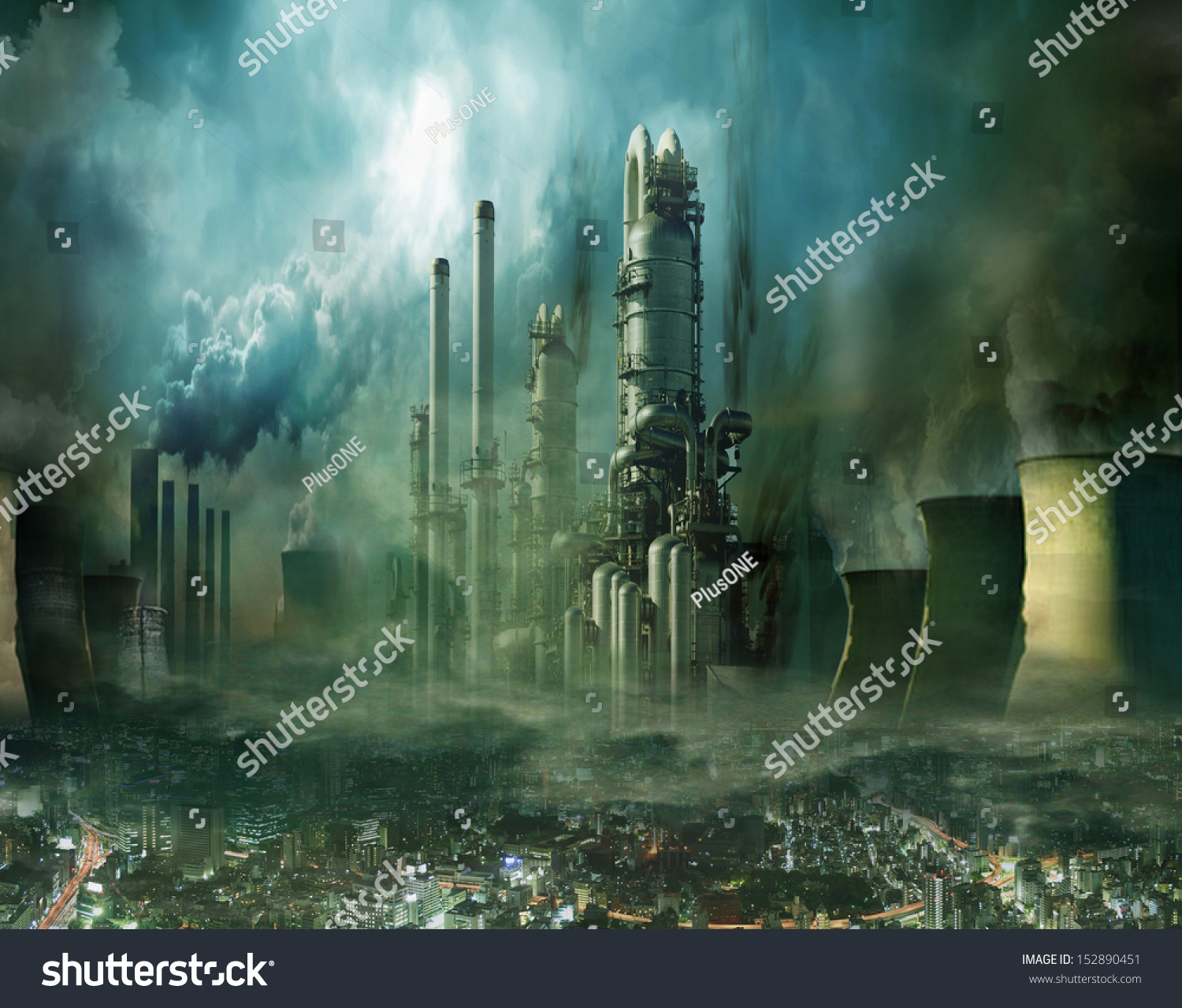 Composition Futuristic City Huge Factory Covered Stock