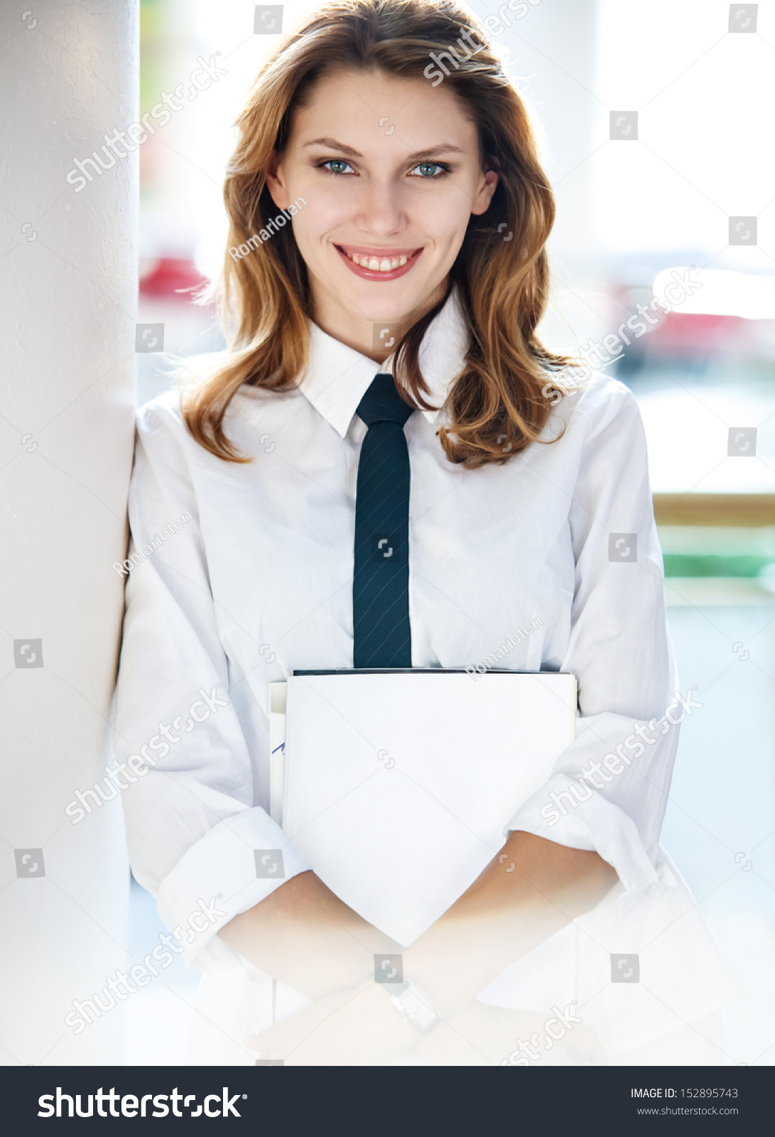 Young Woman Holds Folders Women White Stock Photo 152895743 ...