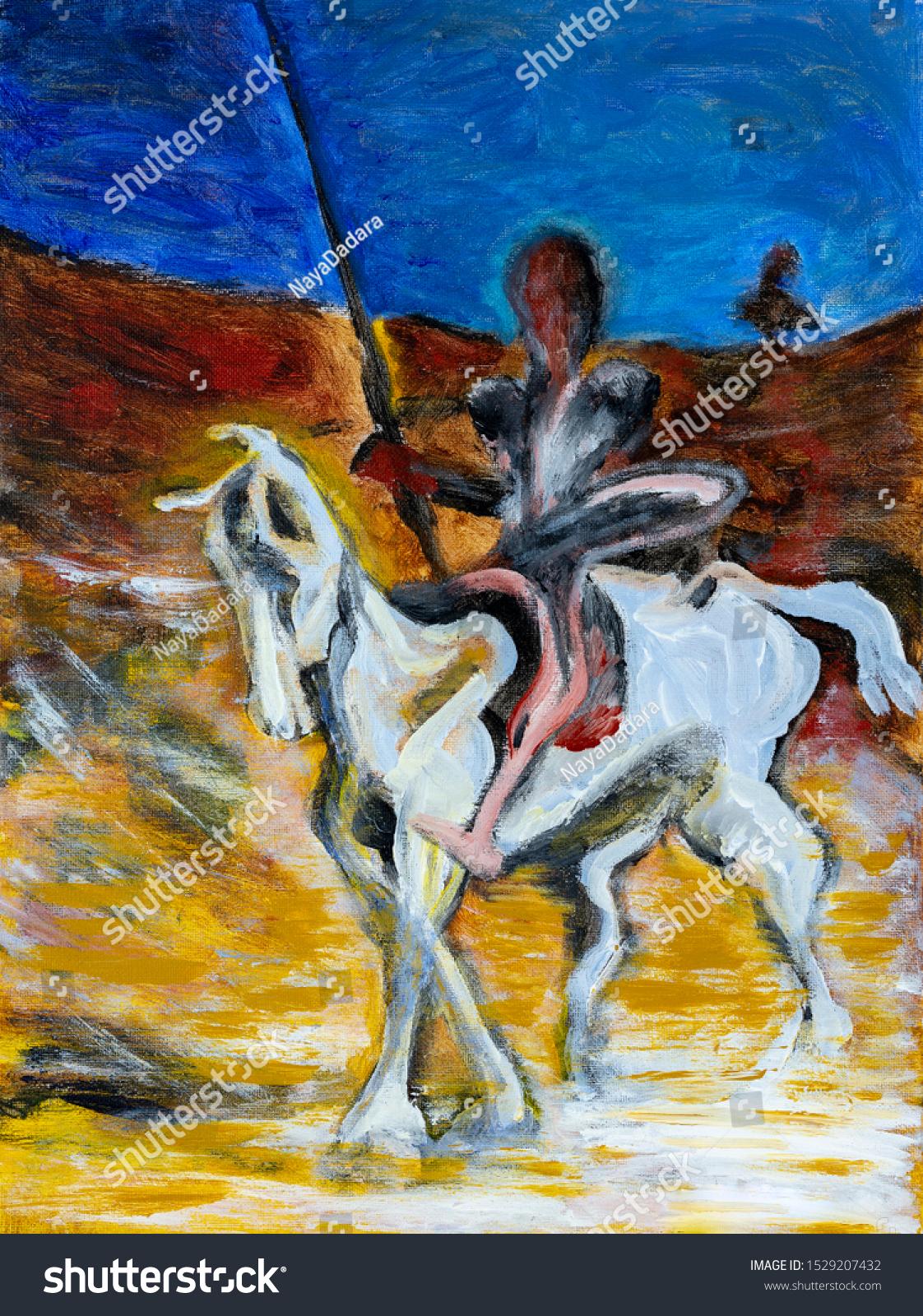 Man Holding Lance Riding White Horse Stock Photo Edit Now 1529207432
