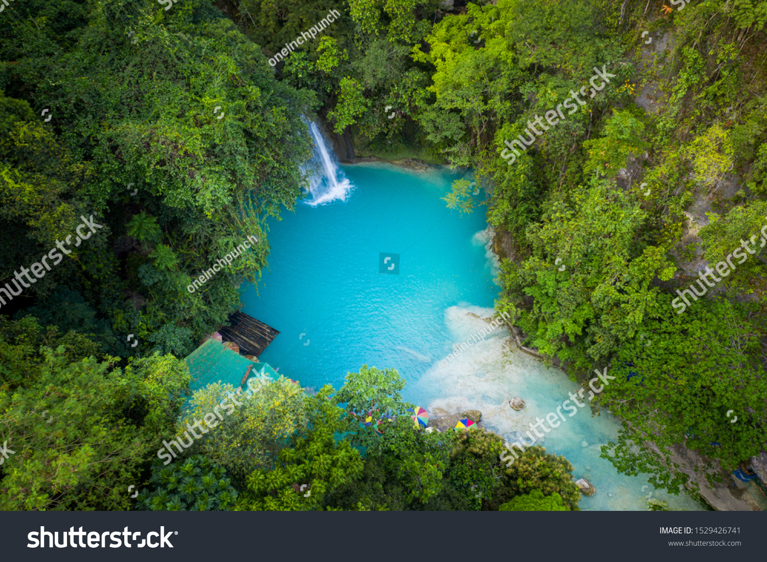 Kawasan waterfalls located on Cebu Island, Philippines - Beautiful waterfall in the jungle #1529426741