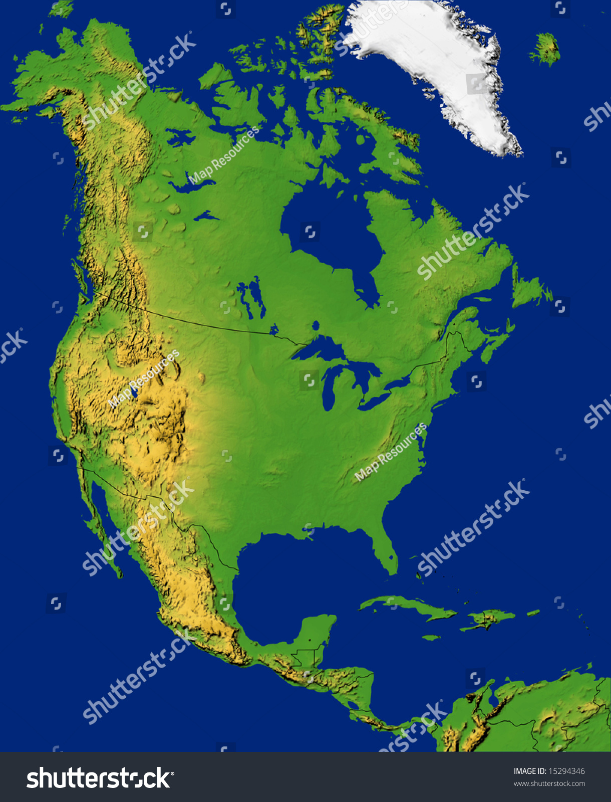 North America Map Ocean Stock Illustration Shutterstock - Usa map with oceans