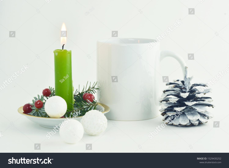 Set White Mug Mockup Mug Christmas Stock Photo Edit Now 1529435252