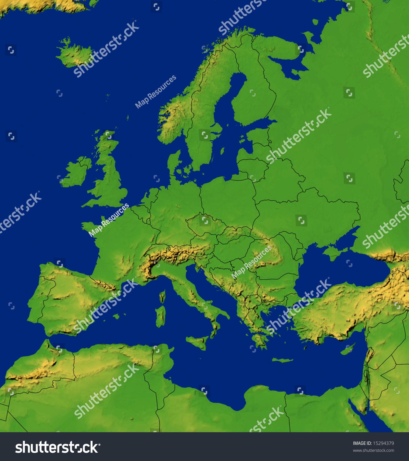 Europe Map Terrain Stock Illustration Shutterstock - Europe terrain map