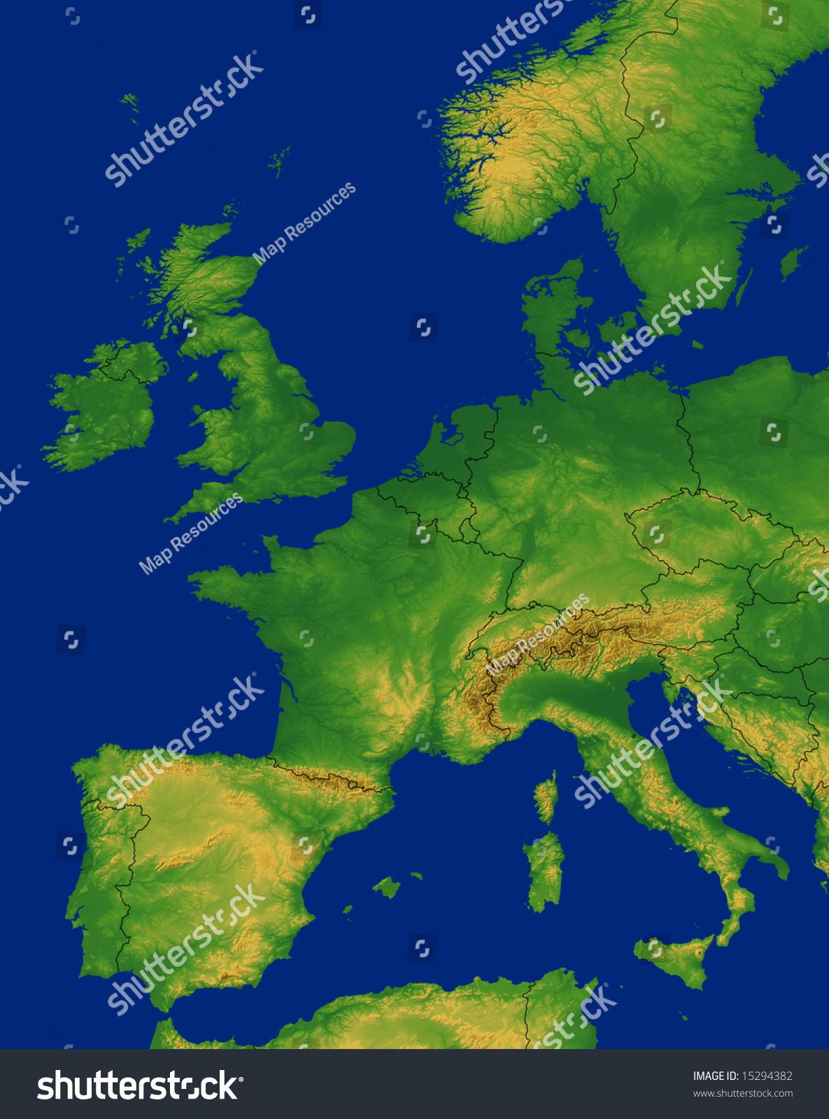 Western Europe Map Terrain Stock Illustration Shutterstock - Europe terrain map