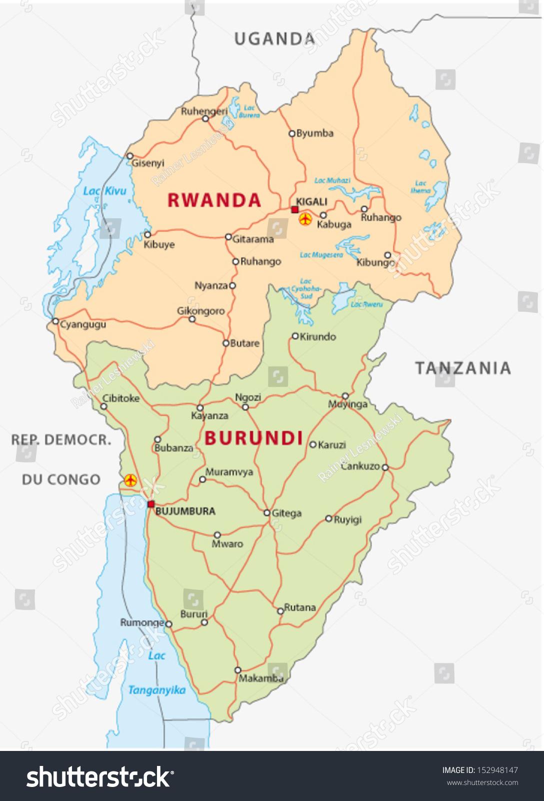 Rwanda Burundi Road Map Stock Vector 2018 152948147 Shutterstock