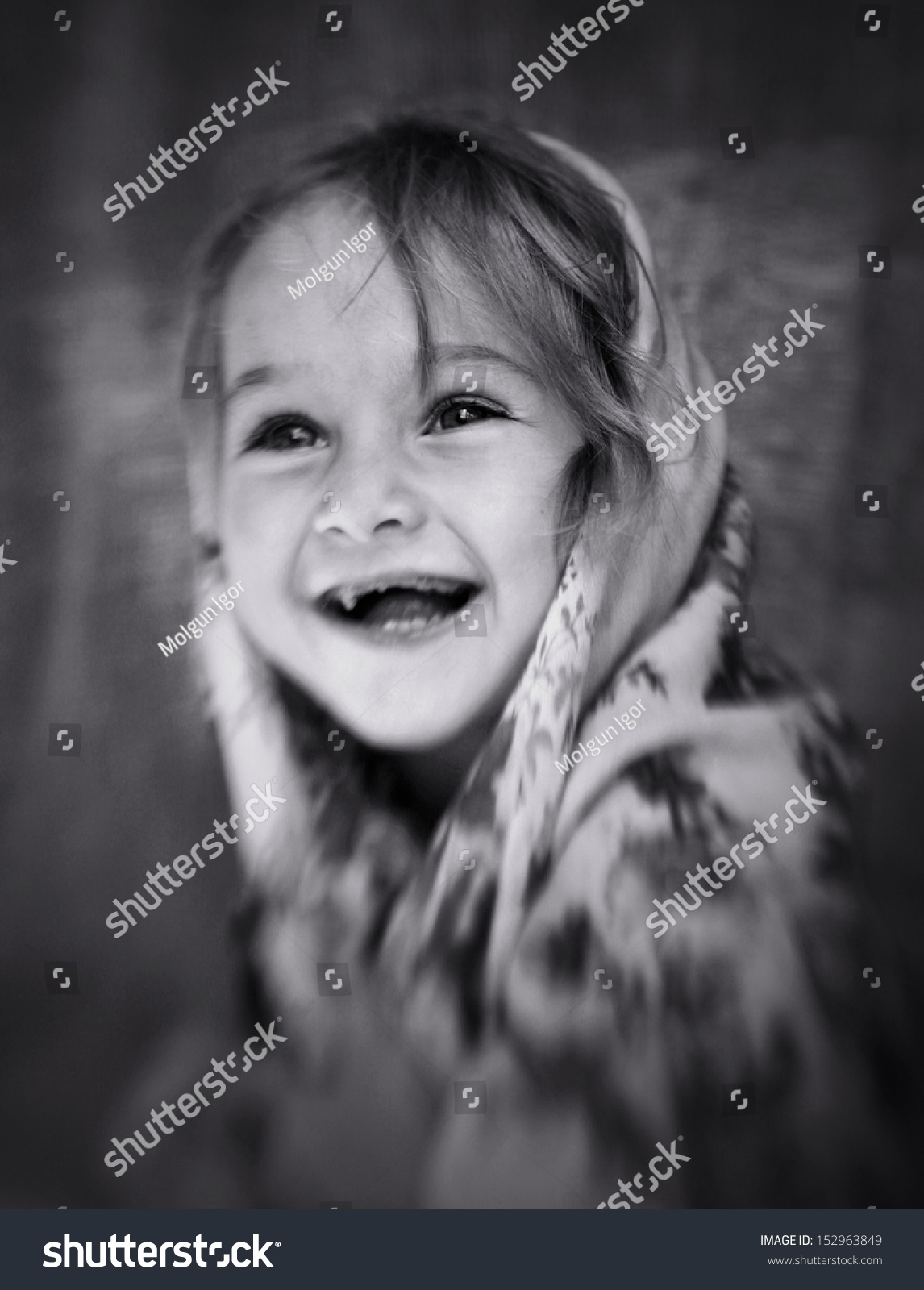 Black and white portrait of two year emotional cute girls