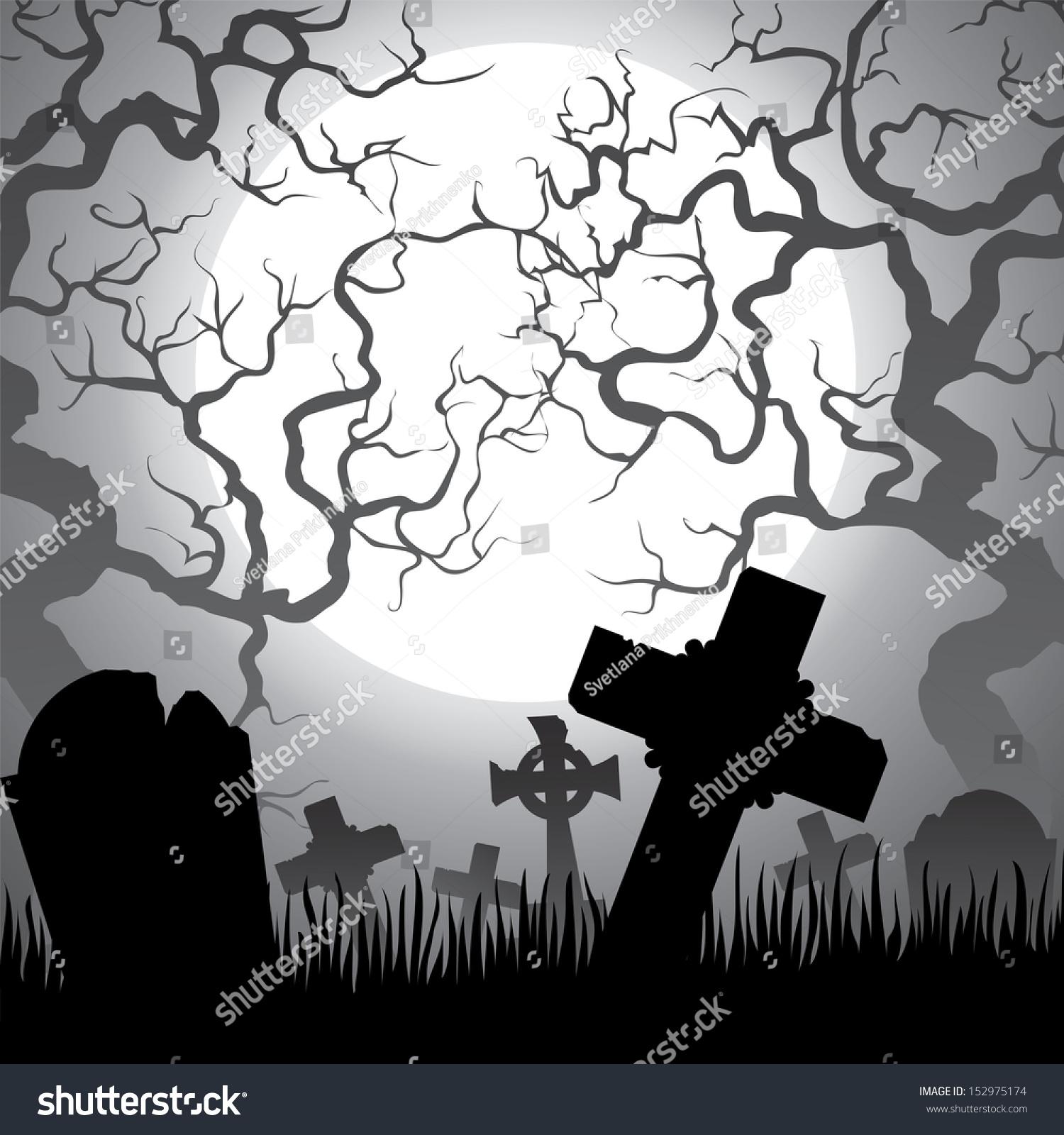 spooky halloween cemetery graveyard trees fog stock vector (royalty