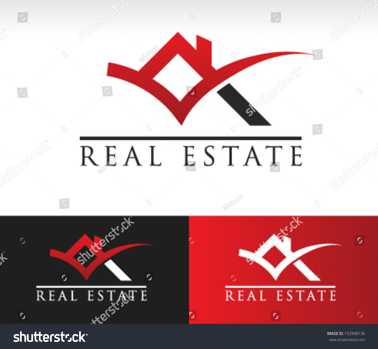 Real Estate: Real Estate Logo Icon Roof Check Stock Vector 152998136