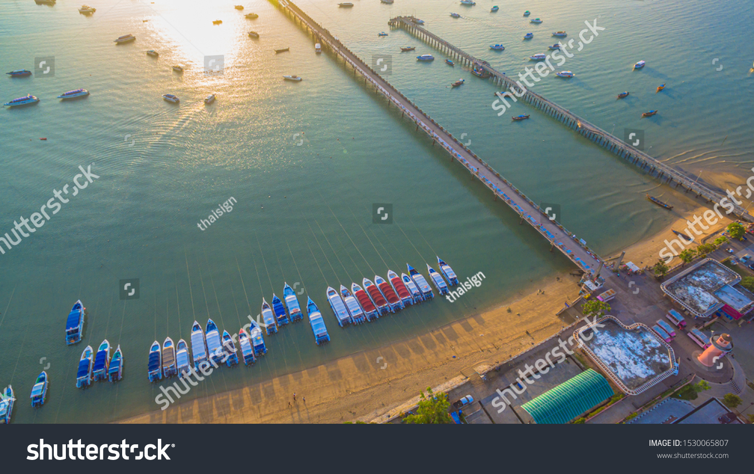 aerial photography at Chalong pier. Chalong bay is the most important marina of Phuket there have 2 piers and customs at pier.