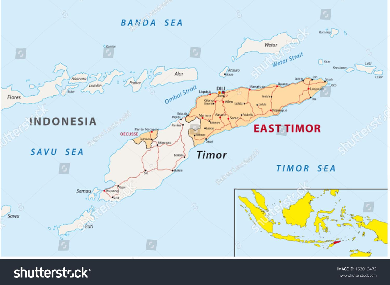 East Timor Map Stock Vector Shutterstock - East timor seetimor leste map vector