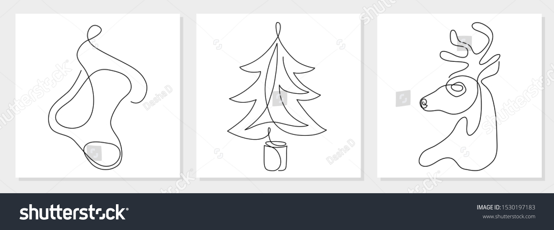 One Line Drawing Christmas Tree Reindeer Stock Vector Royalty Free 1530197183