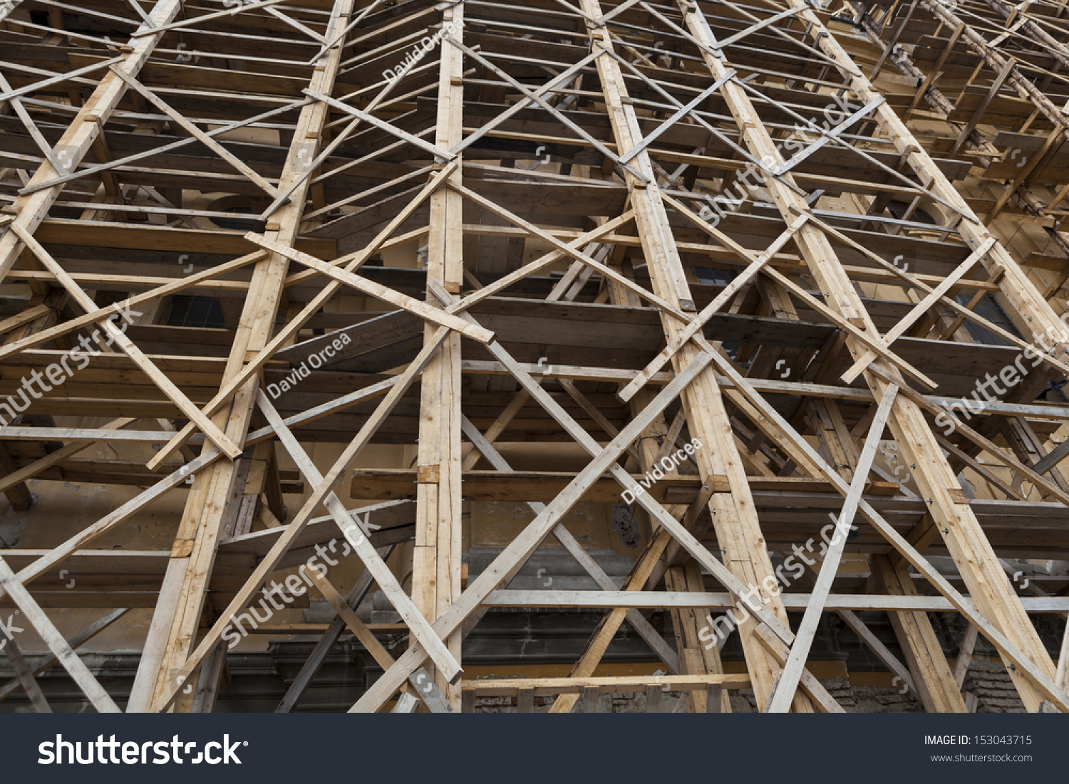 Huge wood scaffold closeup on old stock photo 153043715 - Exterior scaffolding rental near me ...