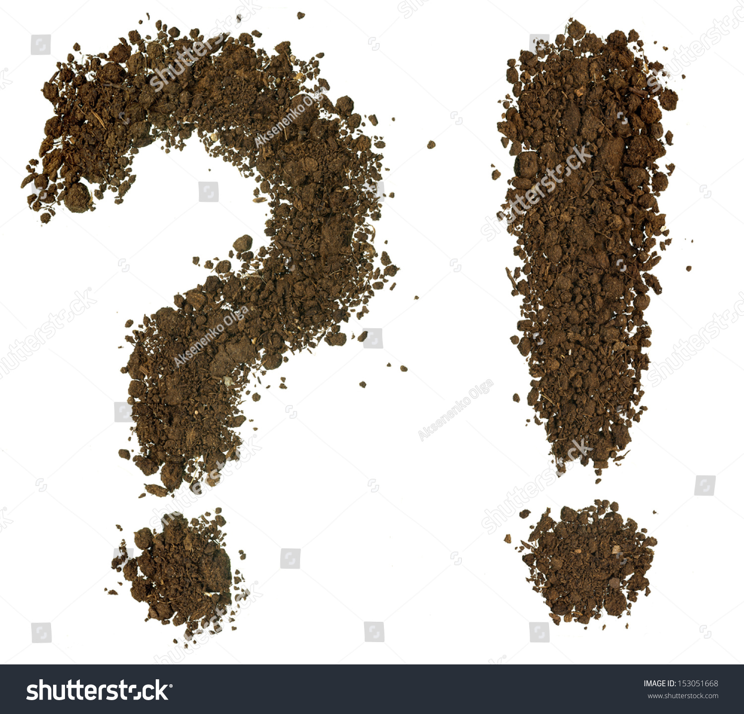 Conceptual question mark and exclamation mark made of soil for What is dirt composed of