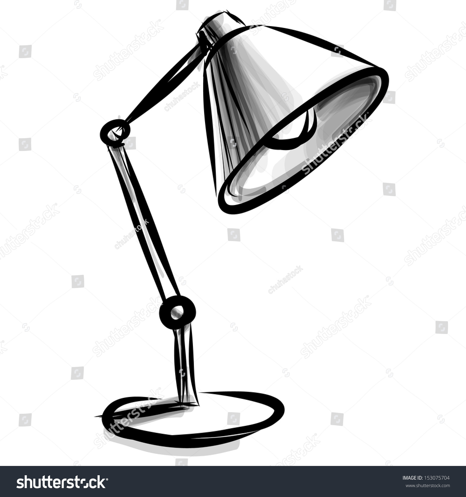 Table lamp for drawing - Adjustable Table Lamp Sketch Vector Illustration