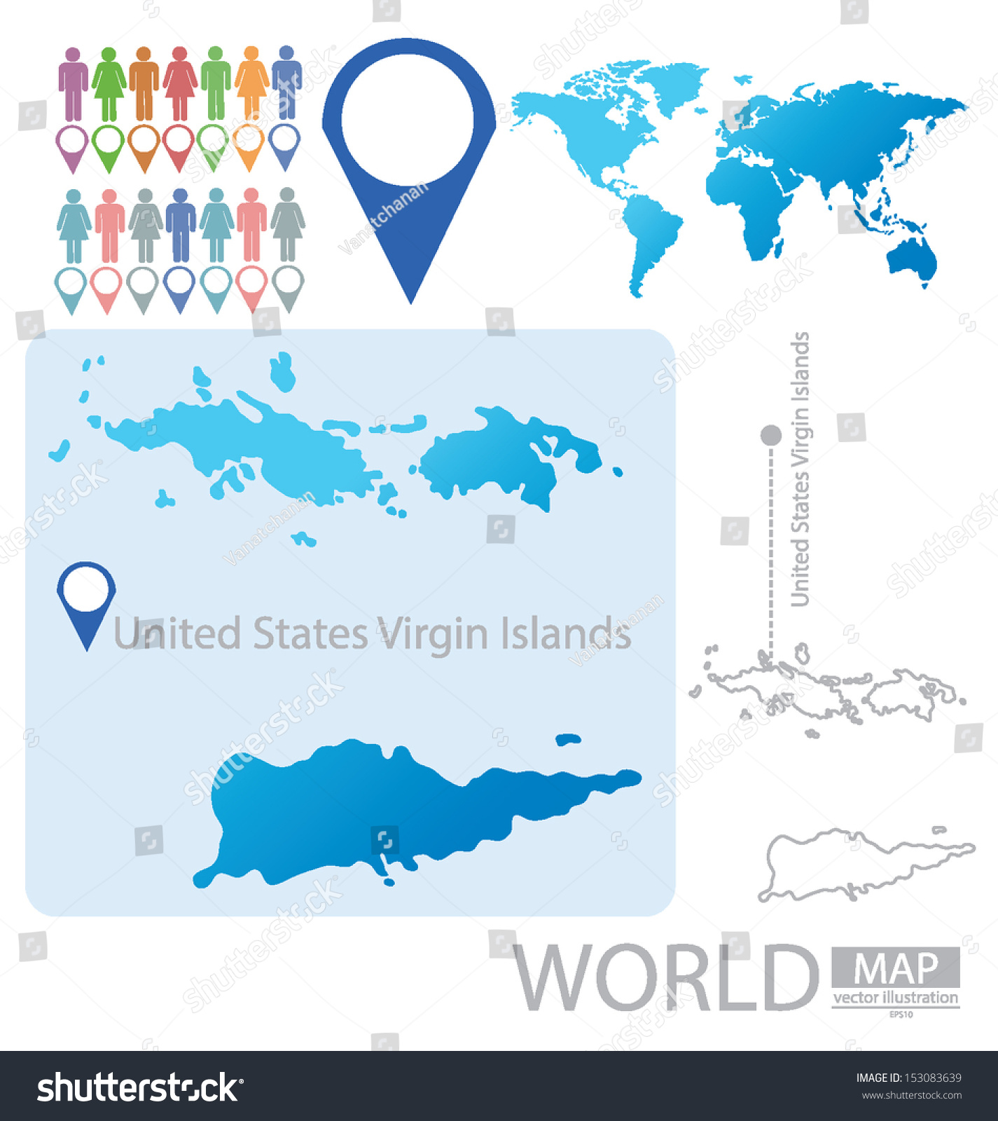 World Map Virgin Islands.United States Virgin Islands World Map Stock Vector Royalty Free