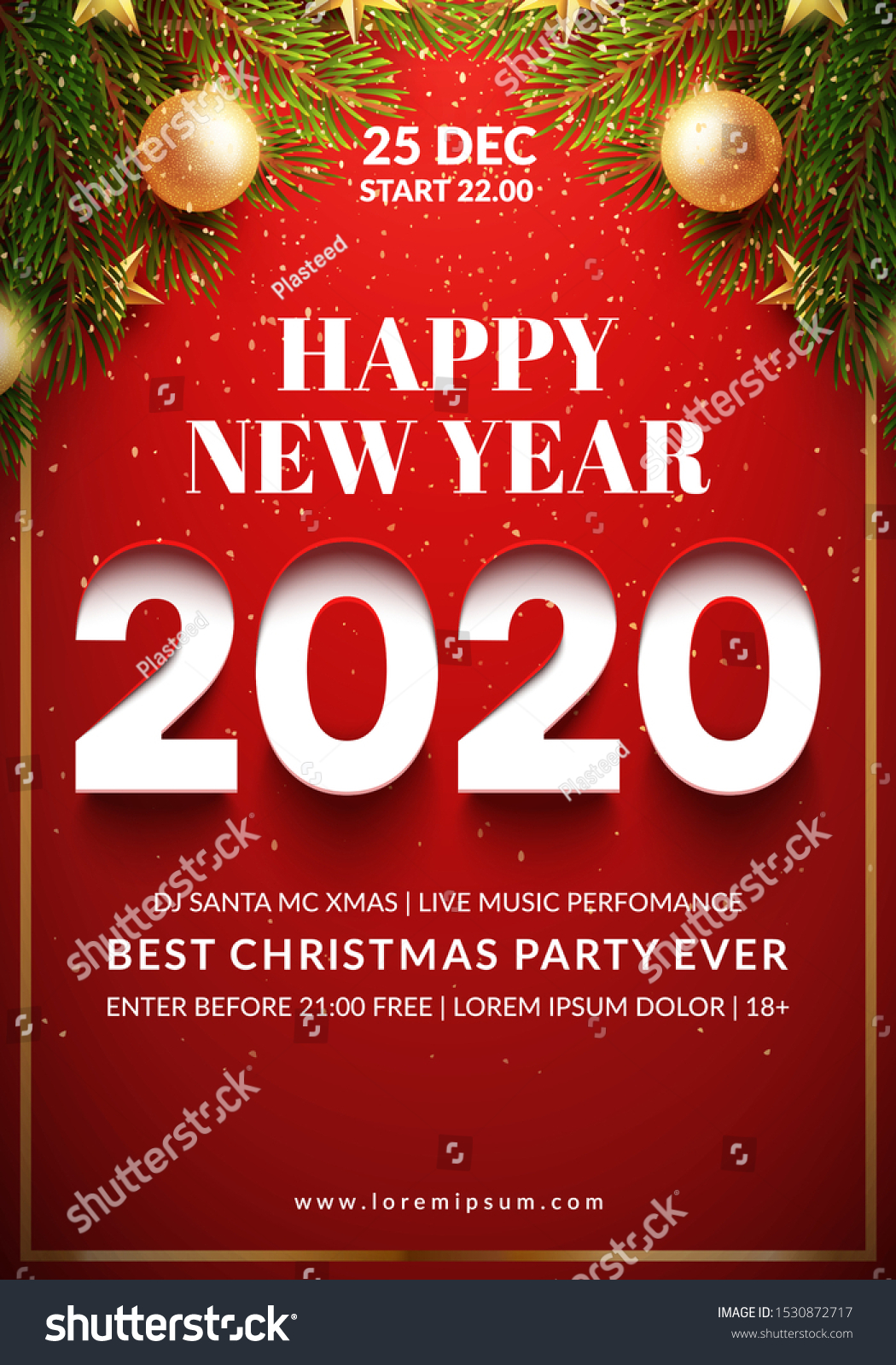 Mc Ds Open On Christmas Day 2020 Christmas Party Flyer Design 2020 3d Stock Vector (Royalty Free