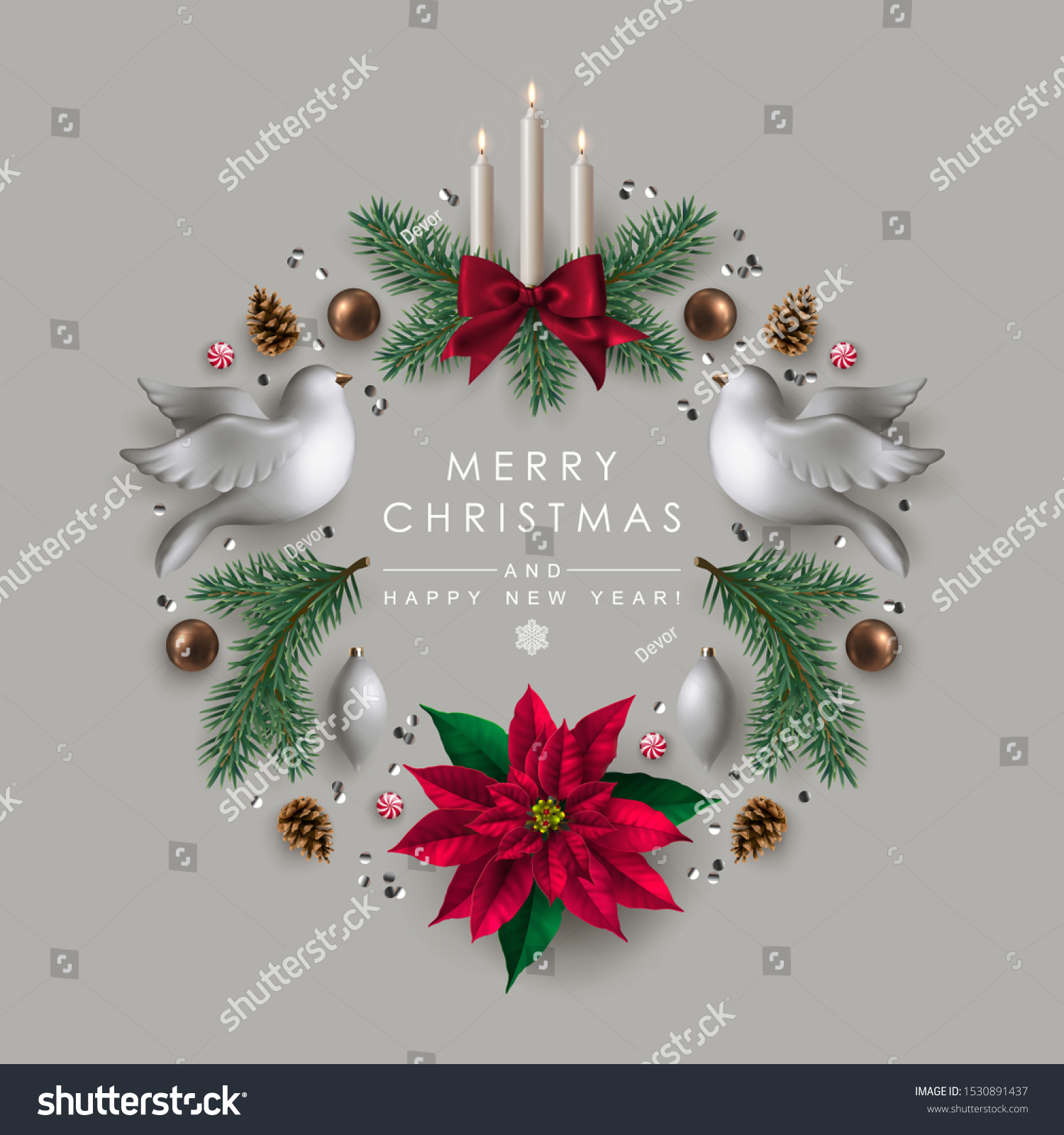 Christmas wreath made of white doves, pine branches, candles and Christmas decoration #1530891437