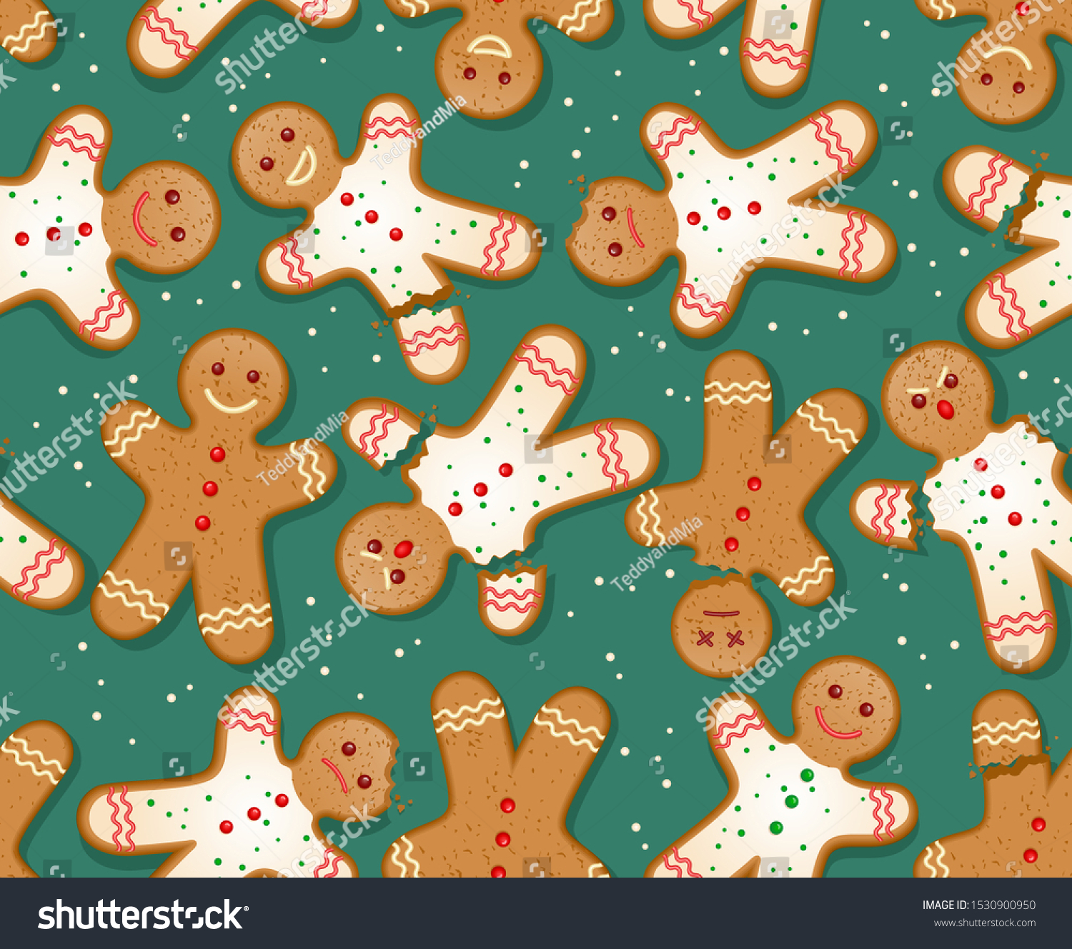 stock vector seamless holiday gingerbread man pattern cute design for christmas backgrounds wrapping paper 1530900950