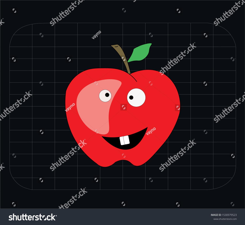 apple character emoji vector illustration