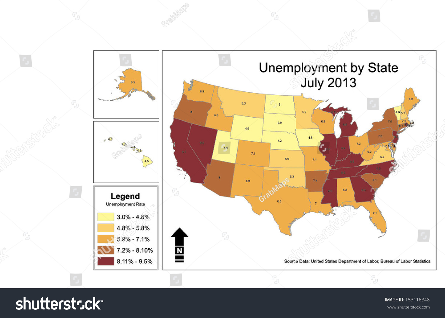 vector map unemployment rates by state stock vector 153116348 shutterstock. Black Bedroom Furniture Sets. Home Design Ideas