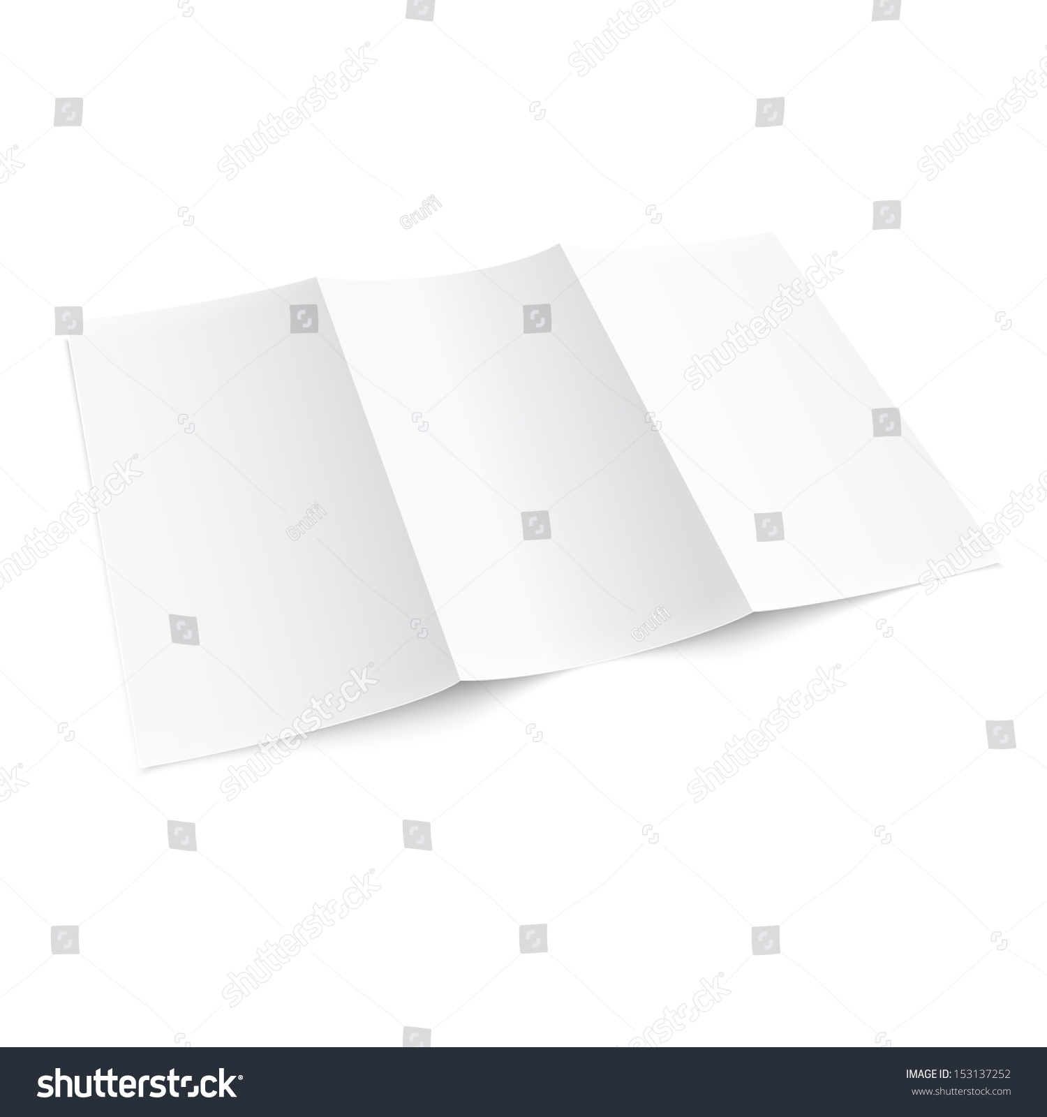 leaflet blank trifold paper brochure mockup isolated on white