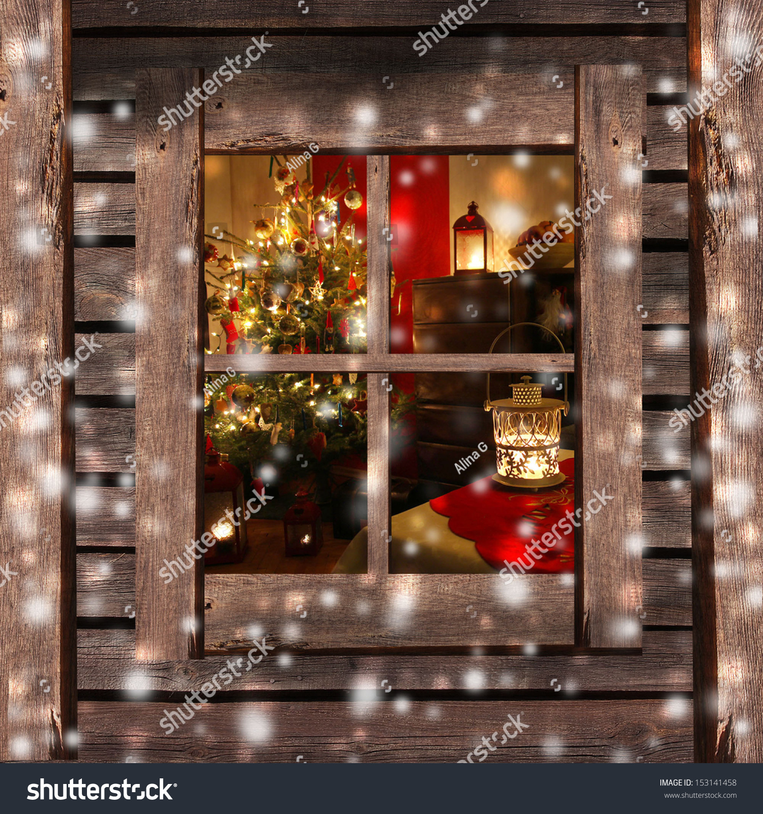 Christmas cabin interior - Christmas Tree And Fireplace Seen Through A Wooden Cabin Window