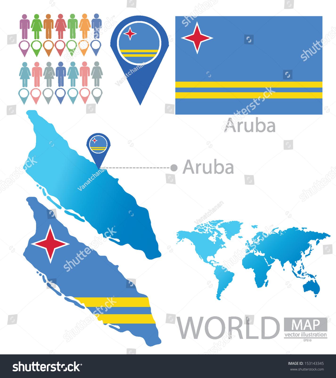 Picture of: Vector De Stock Libre De Regalias Sobre Aruba Flag World Map Vector Illustration153143345