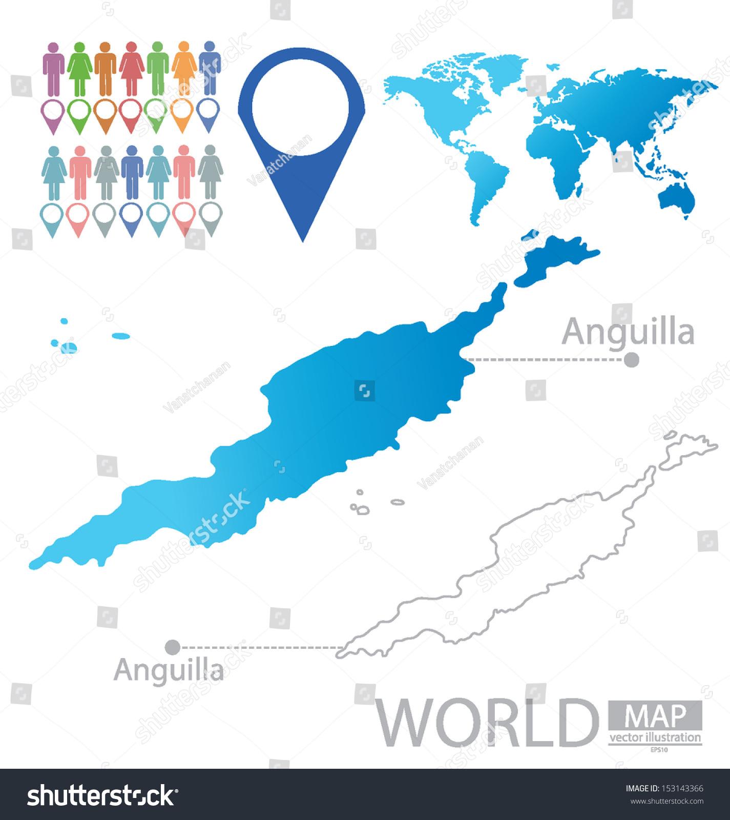 Anguilla World Map Vector Illustration Stock Vector 153143366