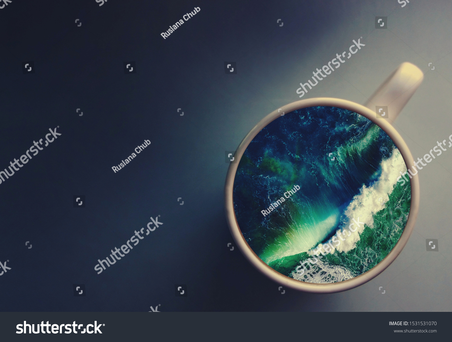White cup with water. Sea. Ocean. Sea waves. Creative postcard. #1531531070