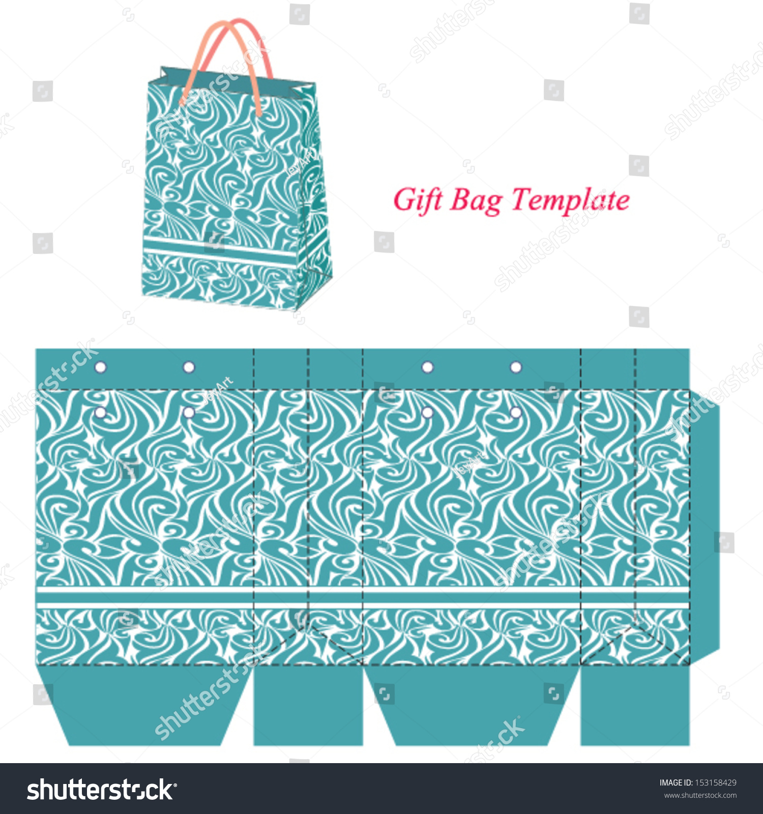 Blue Gift Bag Template With Seamless Pattern. Vector Illustration ...