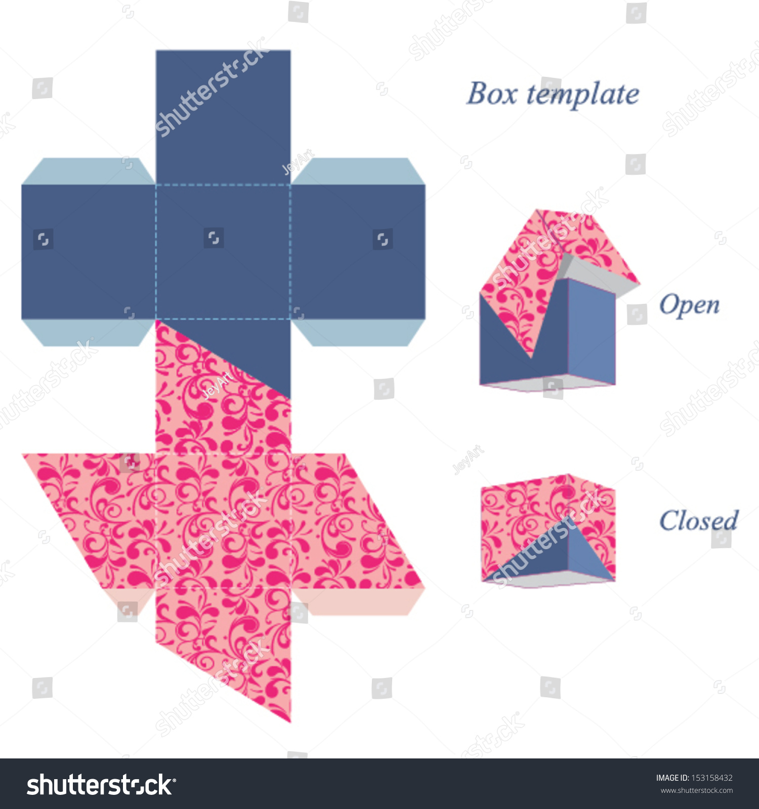 interesting square box template lid floral stock vector royalty