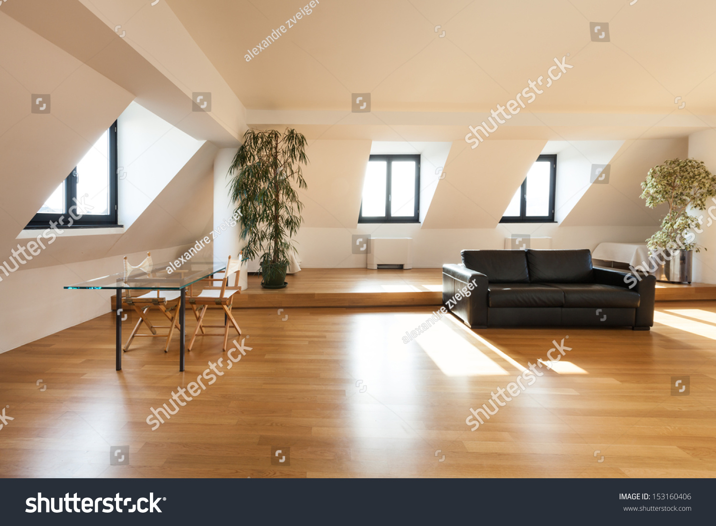 Interior Beautiful Loft Hardwood Floor Living Stock Photo