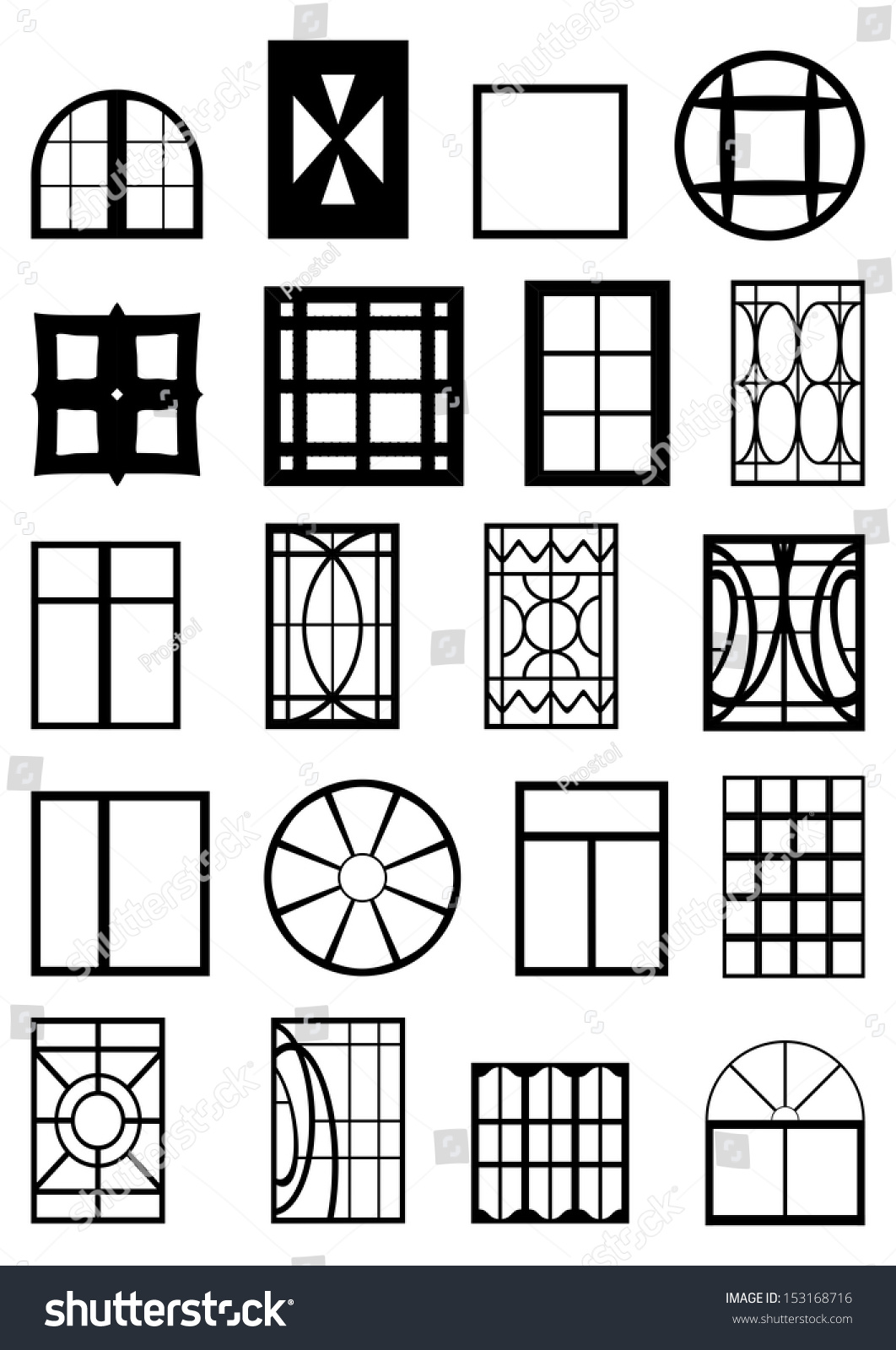 different types of window frames black contour on a white background