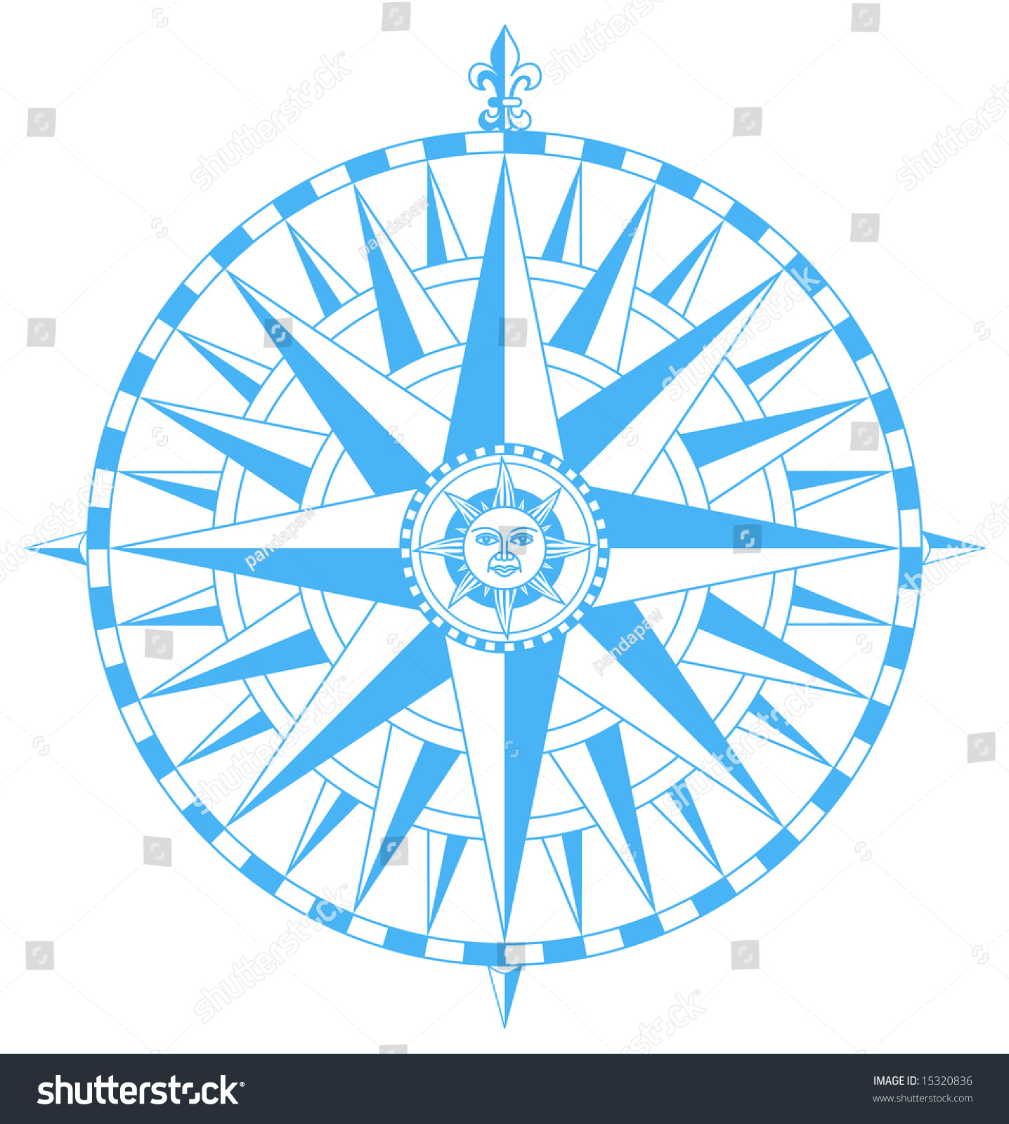 Compass wind rose fleurdelys pointing north stock vector 15320836 compass wind rose with fleur de lys pointing north and sun face in center buycottarizona
